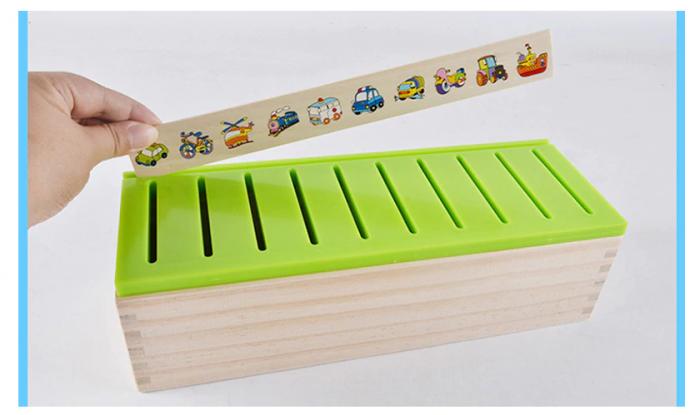 Joc asociere şi sortare - Cutie Montessori cu 88 piese din lemn 3