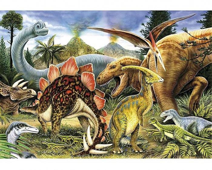 Dinozauri, puzzle din lemn Wentworth, 50 de piese 0