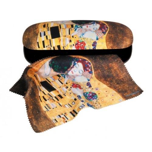 Etui cu textil și protecție ochelari, Klimt Sărutul 0