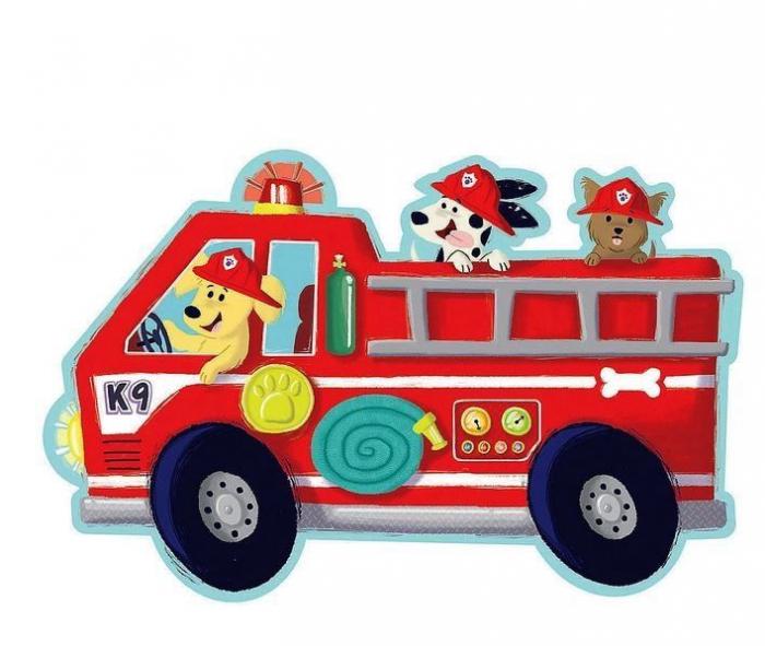 Firetruck pups puzzle - Mașina de pompieri, puzzle mare de podea 2