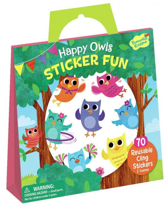 Happy Owls Reusable Sticker Tote - Bufnițele fericite, gentuță cu abțibilduri reutilizabile 0