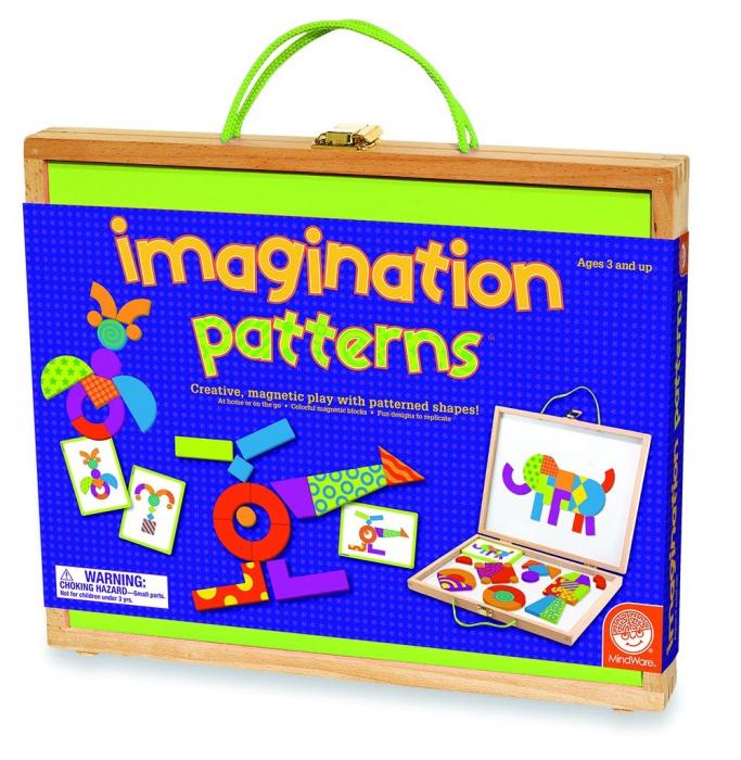 Imagination patterns, joc de construcție din lemn, cu piese magentice 0