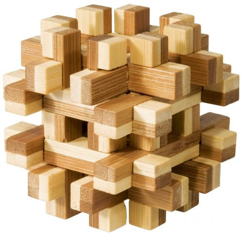 Joc logic IQ din lemn bambus Magic blocks puzzle 3d 0
