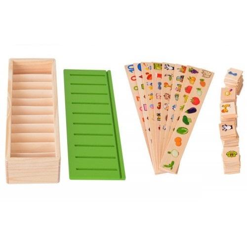Joc asociere şi sortare - Cutie Montessori cu 88 piese din lemn 6