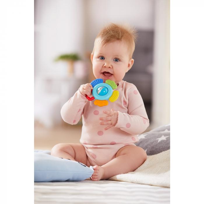 Jucărie pentru dentiție cu zornăitoare: Floare -  Haba 1