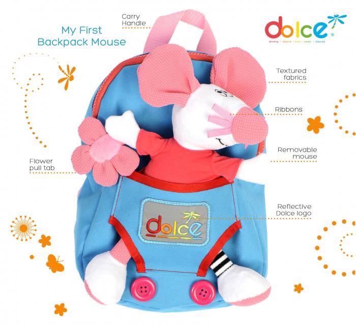Rucsac pentru copii, cu jucărie senzorială șoricel 1