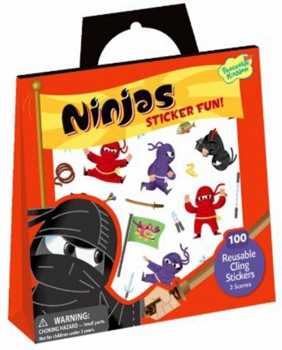 Ninjas Reusable Sticker Tote - Luptătorii ninja, gentuță cu abțibilduri reutilizabile 0