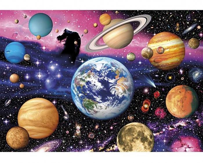 Noi suntem aici - sistemul solar, puzzle din lemn Wentworth 0