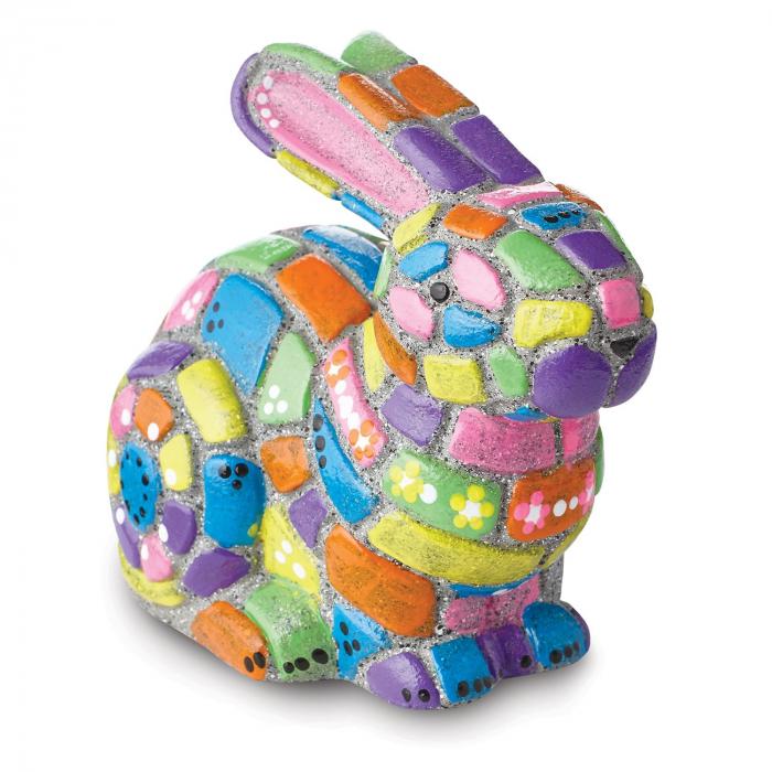 Paint your own stone mosaic bunny, decorațiune pentru pictat, din piatră, pentru grădină 1