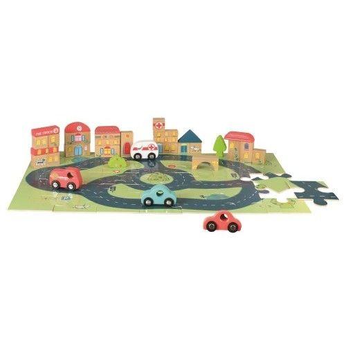 Puzzle gigant oras, cu vehicule și cuburi Egmont [0]