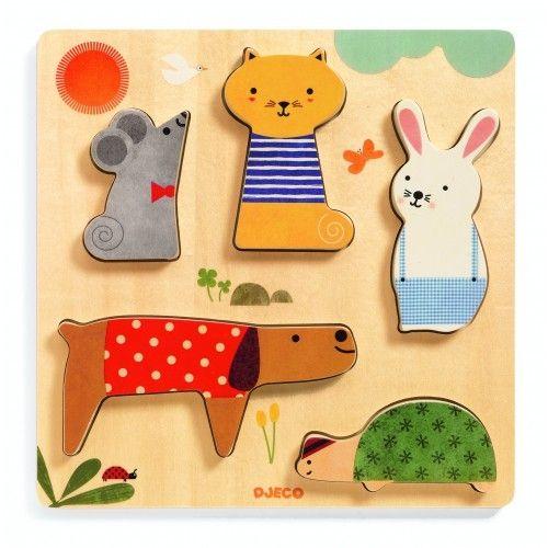 Puzzle lemn animale de companie Djeco 0