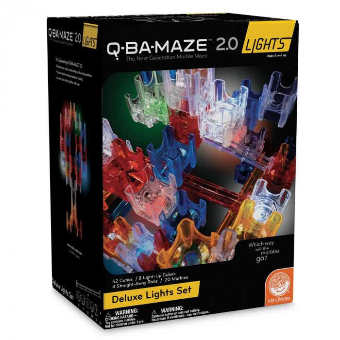 Q-BA-MAZE 2.0 Deluxe Lights Set, joc de construcție cu bile și cuburi luminoase 0