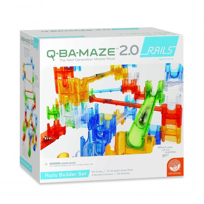 Q-BA-MAZE 2.0: Rails builders set, joc de construcție cu șine și bile 0