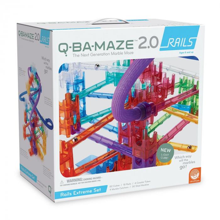 Q-BA-MAZE 2.0 RAILS EXTREME SET, joc de construcție cu bile 0