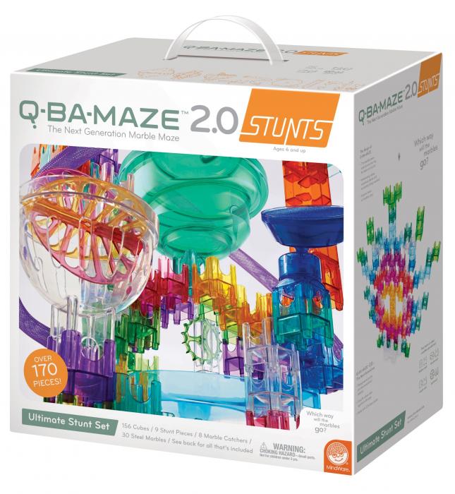 Q-BA-MAZE 2.0 Ultimate Stunt Set, joc de construcție cu bile și cascadorii 0