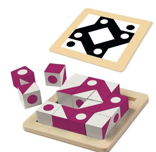 Q-bitz Solo: Magenta Edition, joc educativ cu piese din lemn [1]