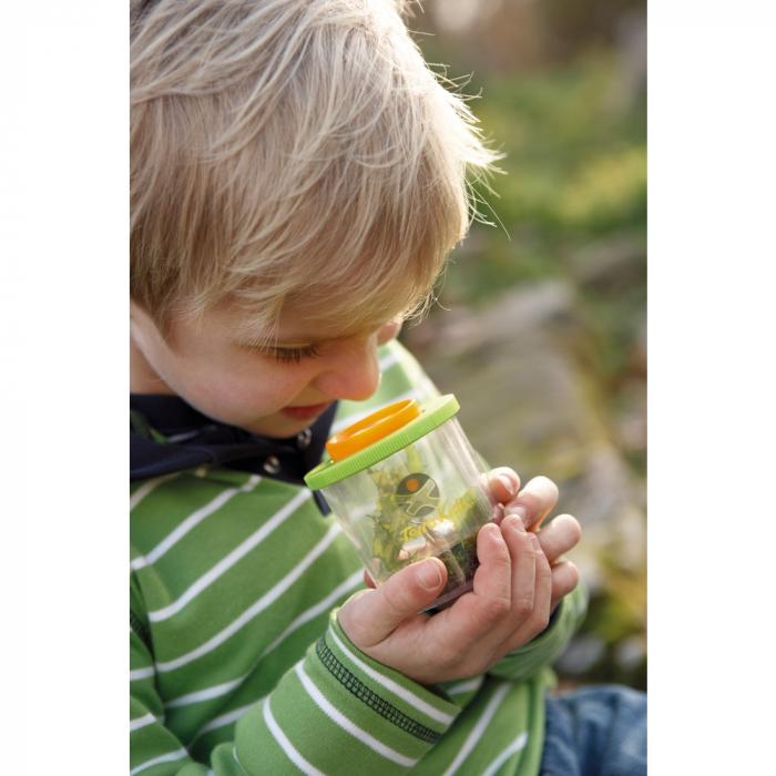 Recipient cu capac și lupă pentru prinderea și cercetarea insectelor - Haba 1