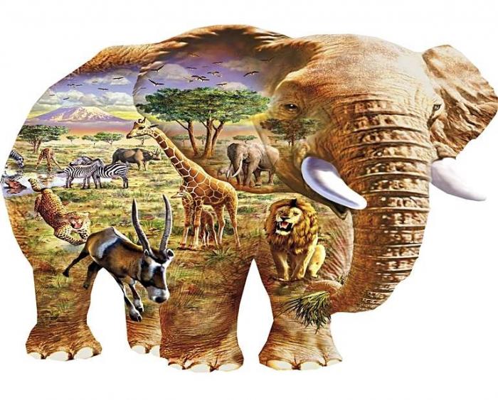 Savana, puzzle din lemn Wentworth  în formă de elefant, 100 de piese 0