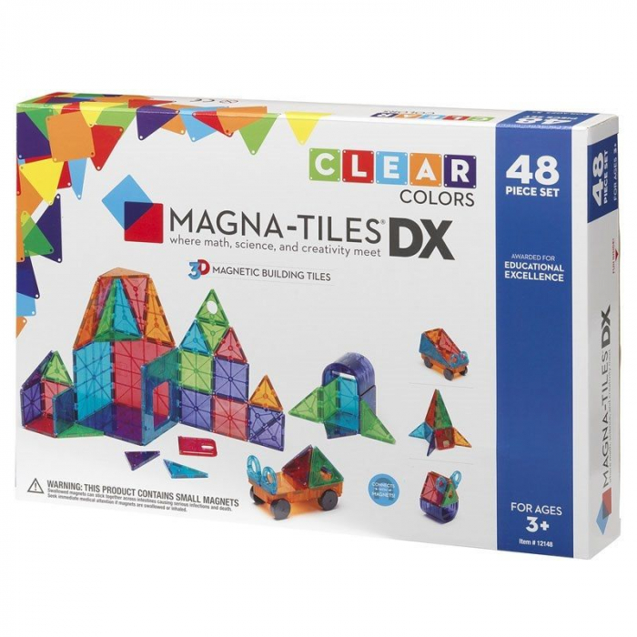 Set magnetic Clear Colors Magna-Tiles Deluxe (48 piese) 0