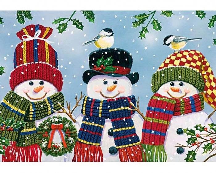 Trio cu oameni de zăpadă, puzzle din lemn Wentworth, 25 de piese 2
