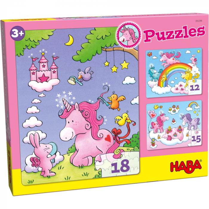 Unicorni cu sclipici – puzzle evolutiv Haba 0