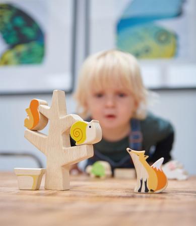 Animăluțe în copac, din lemn premium - Stacking Garden Friends - 16 piese - Tender Leaf Toys3