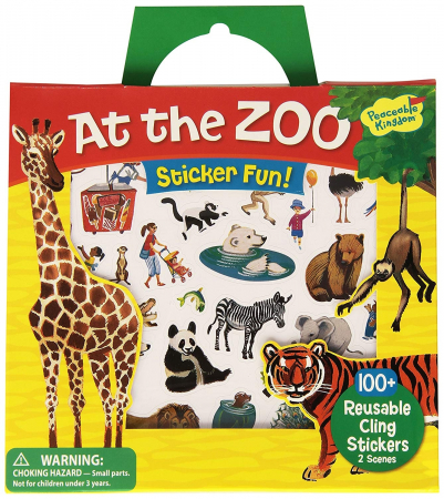 At the Zoo Reusable Sticker Tote - La ZOO, gentuță cu abțibilduri reutilizabile0