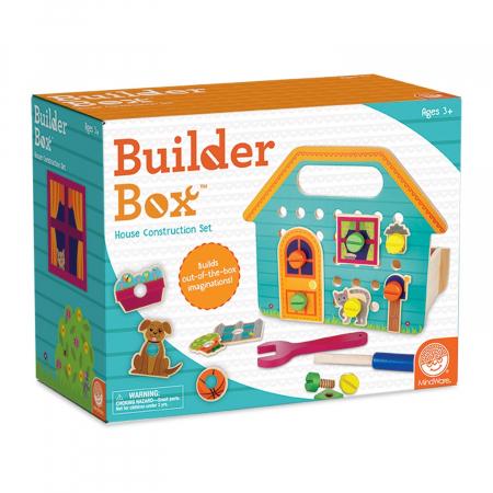Builder Box House, set de construcție cu piese din lemn0