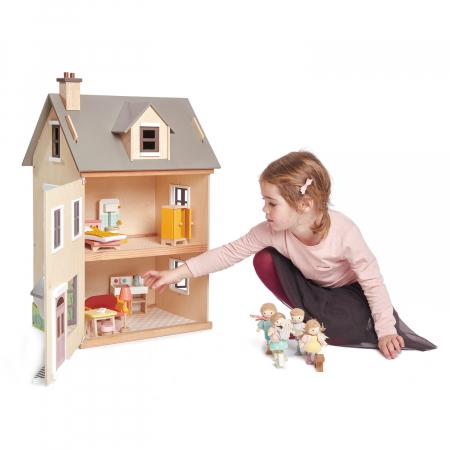 Căsuță urbană de păpuși , din lemn premium Foxtail Villa - include 12 componente de mobilă , din lemn premium - Tender Leaf Toys [2]