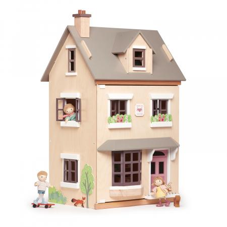 Căsuță urbană de păpuși , din lemn premium Foxtail Villa - include 12 componente de mobilă , din lemn premium - Tender Leaf Toys [0]