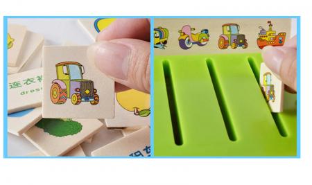 Joc asociere şi sortare - Cutie Montessori cu 88 piese din lemn4