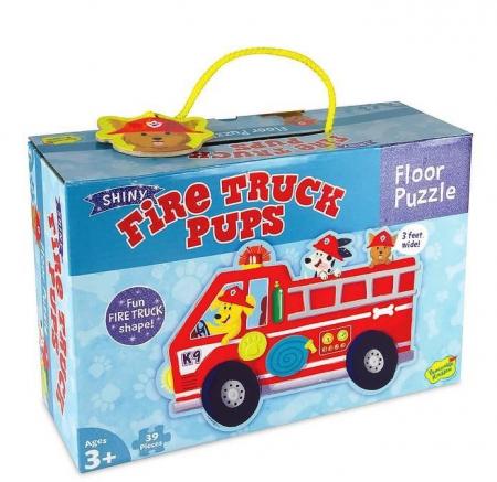 Firetruck pups puzzle - Mașina de pompieri, puzzle mare de podea0