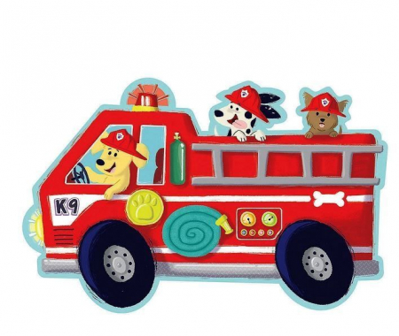 Firetruck pups puzzle - Mașina de pompieri, puzzle mare de podea2