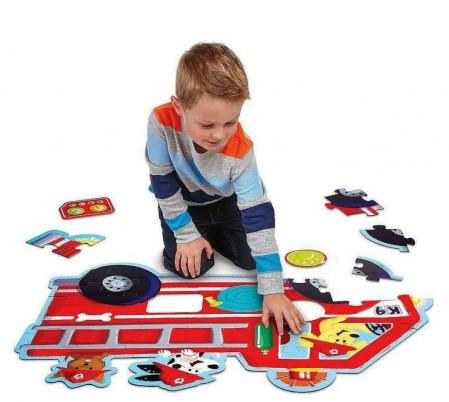 Firetruck pups puzzle - Mașina de pompieri, puzzle mare de podea1