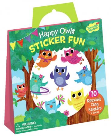 Happy Owls Reusable Sticker Tote - Bufnițele fericite, gentuță cu abțibilduri reutilizabile0