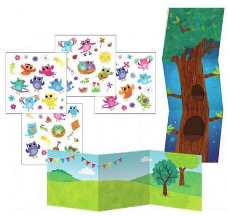 Happy Owls Reusable Sticker Tote - Bufnițele fericite, gentuță cu abțibilduri reutilizabile1