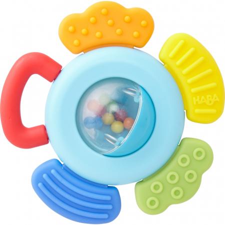 Jucărie pentru dentiție cu zornăitoare: Floare -  Haba0