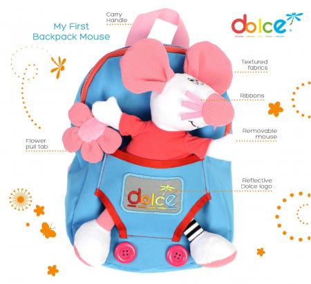 Rucsac pentru copii, cu jucărie senzorială șoricel1