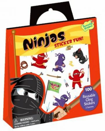 Ninjas Reusable Sticker Tote - Luptătorii ninja, gentuță cu abțibilduri reutilizabile0