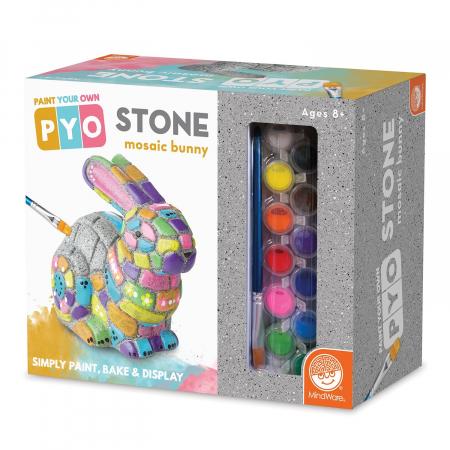 Paint your own stone mosaic bunny, decorațiune pentru pictat, din piatră, pentru grădină0