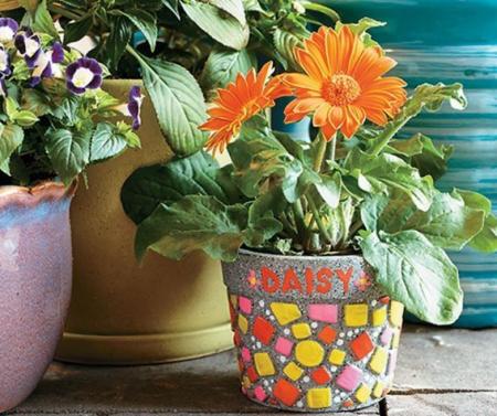 Paint your own stone mosaic flower pot,  decorațiuni pentru pictat, din piatră, pentru grădină [1]