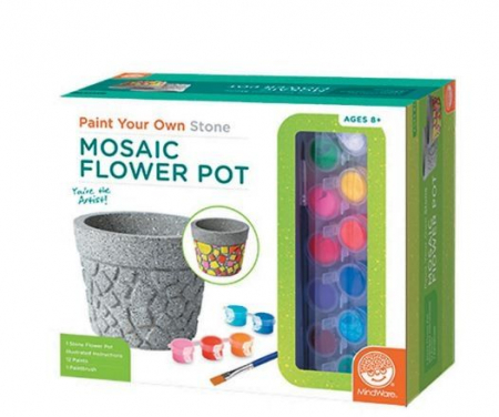 Paint your own stone mosaic flower pot,  decorațiuni pentru pictat, din piatră, pentru grădină [0]