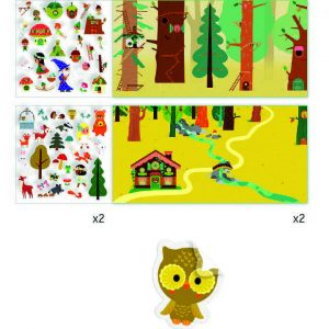 Planșe cu abțibilduri repoziționabile Djeco, Pădurea fermecată1