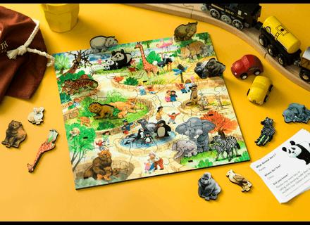 Puzzle din lemn Parcul cu Animale - Wentworth3