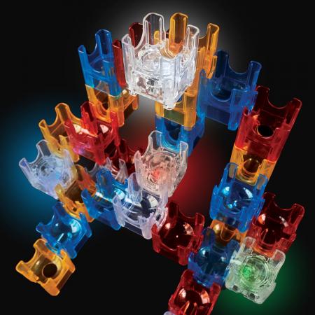 Q-BA-MAZE 2.0 Deluxe Lights Set, joc de construcție cu bile și cuburi luminoase2