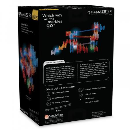 Q-BA-MAZE 2.0 Deluxe Lights Set, joc de construcție cu bile și cuburi luminoase1