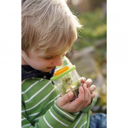 Recipient cu capac și lupă pentru prinderea și cercetarea insectelor - Haba1