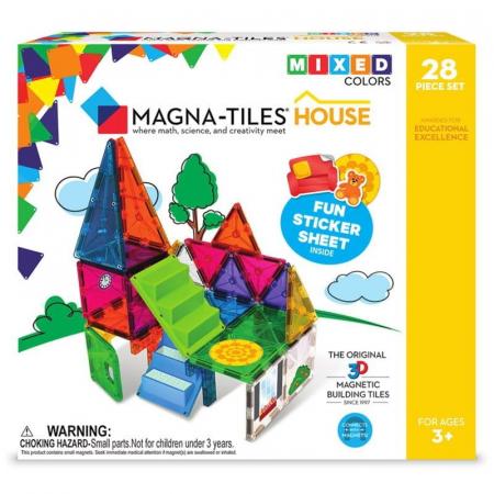 Set magnetic cu autocolante Magna-Tiles House (28 piese)0