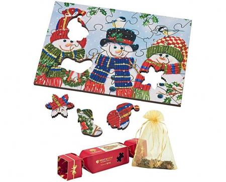 Trio cu oameni de zăpadă, puzzle din lemn Wentworth, 25 de piese0