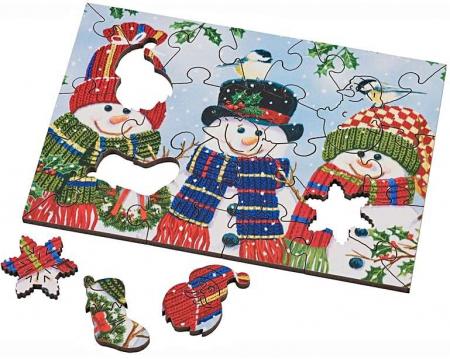 Trio cu oameni de zăpadă, puzzle din lemn Wentworth, 25 de piese1
